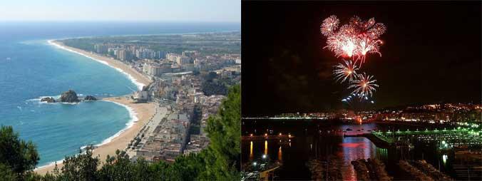 Blanes Strand und Feuerwerk