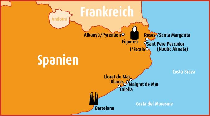 Karte Spanien Costa Brava